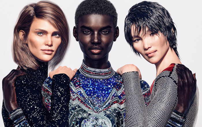 Značka Balmain do své kampaně obsadila tři virtuální modelky, zdroj: Balmain.