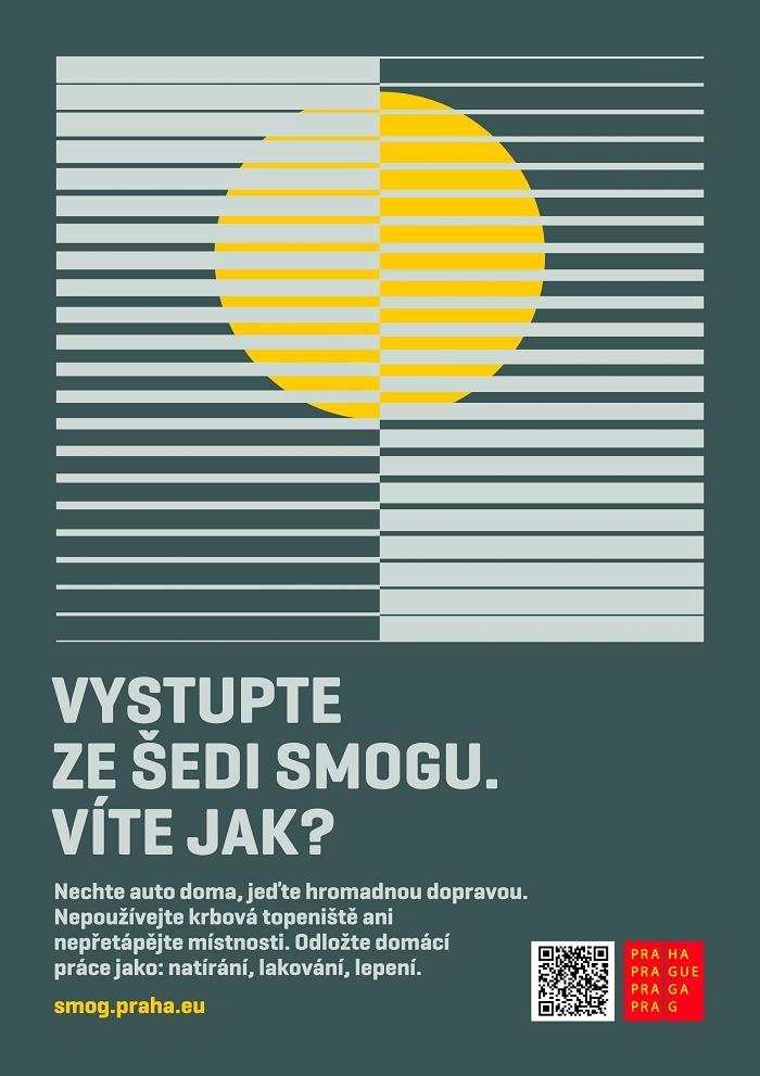 Kampaň proti smogu vznikla na pražském magistrátu interně, autorem grafiky je Pavel Fuksa, zdroj: Magistrát hl. m. Praha.