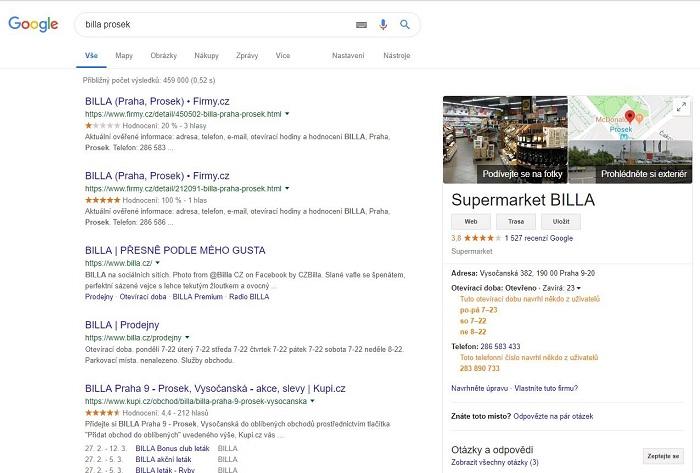Ukázka otevírací doby supermarketu Billa, kterou vyplnili uživatelé, zdroj: Google.