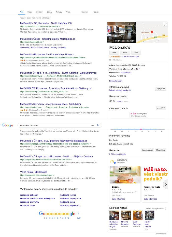 Ukázka příspěvku McDonald's na Rozvadově, zdroj: Google