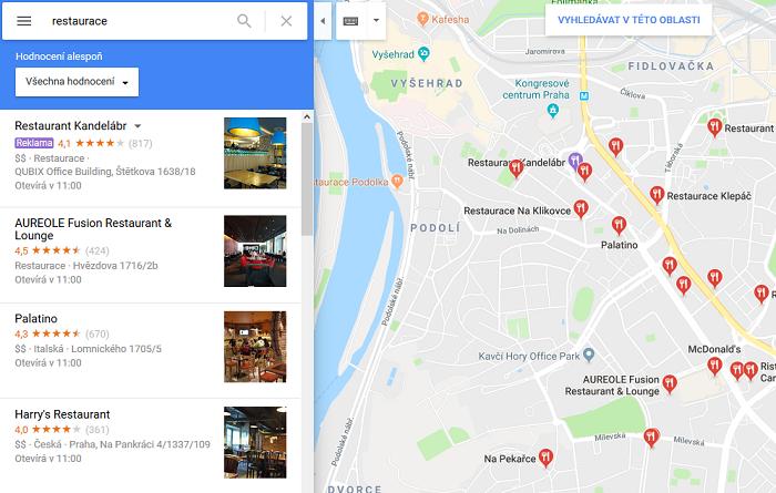 Ukázka reklamy v Google Maps restaurace Kandelábr, zdroj: Google