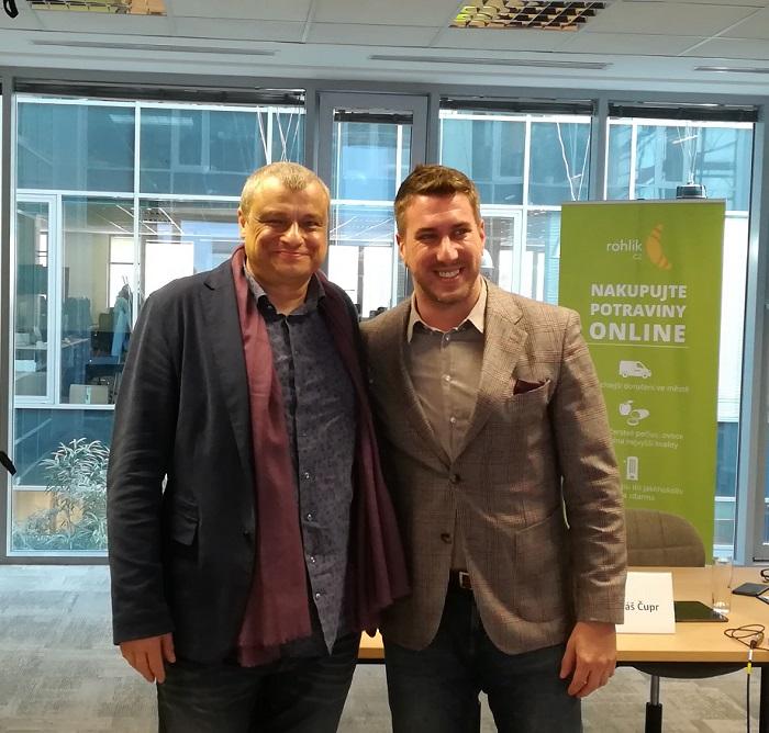 Roman Vaněk, autor kuchařek (vlevo) a Tomáš Čupr, zakladatel Rohlík.cz, Foto: MediaGuru