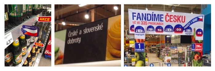 Příklady českosti v tuzemských supermarketech, zdroj: POPAI CE