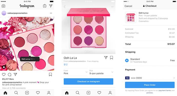 Ukázka nové funkce Checkout, zdroj: Instagram