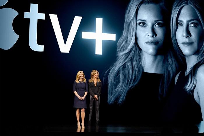 Reese Witherspoonová a Jennifer Anistonová při představení služby Apple TV+, foto: Apple