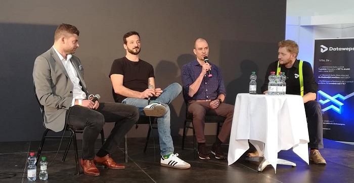 Zleva Milan Šmíd (Zboží.cz), Tomáš Braverman (Heureka), František Štrupl (Google) a Honza Mayer (Dataweps). Zdroj: MediaGuru