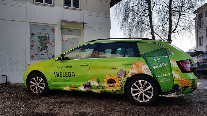 Nový kabát dostaly i vozy obchodních zástupců, zdroj: Weleda.