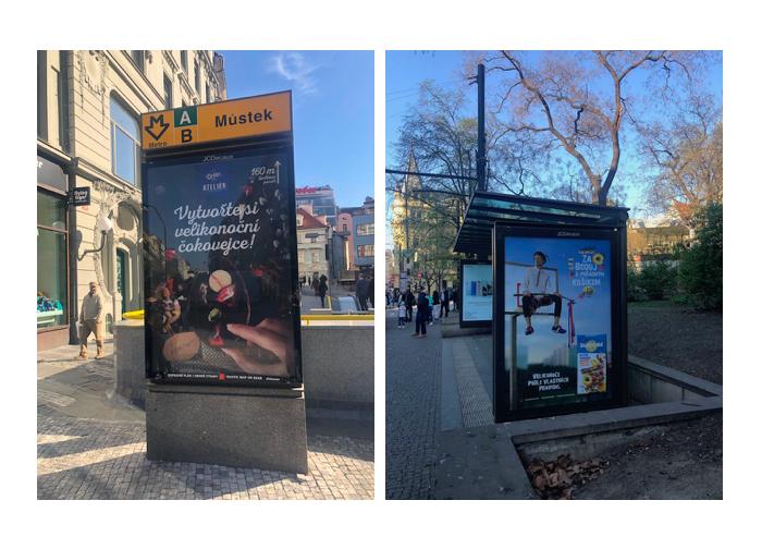 Venkovní reklamy značky Orion na Ateliér a na Studentskou pečeť, foto: MediaGuru.cz