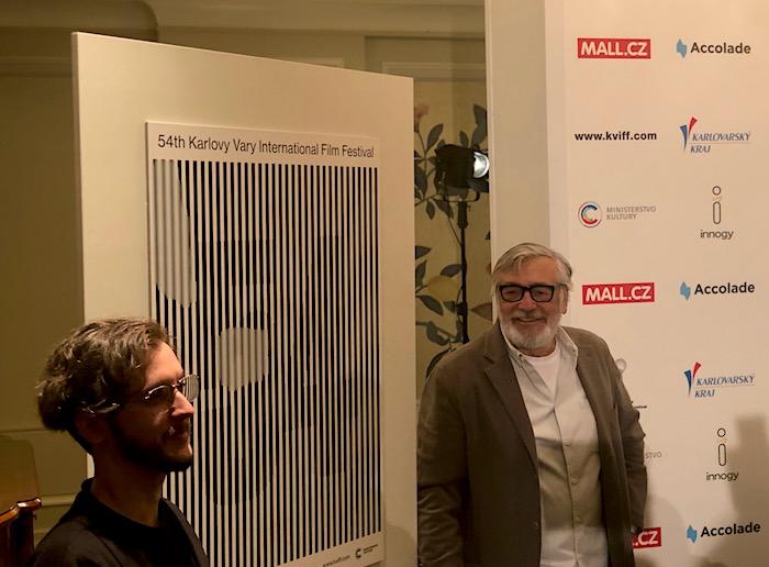 Jaroslav Spurný ze studia Najbrt a Jiří Bartoška odhalují letošní vizuál MFF Karlovy Vary, foto: MediaGuru.cz.