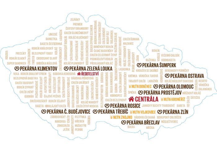 Kde všude má Penam své pekárny, zdroj: Penam.