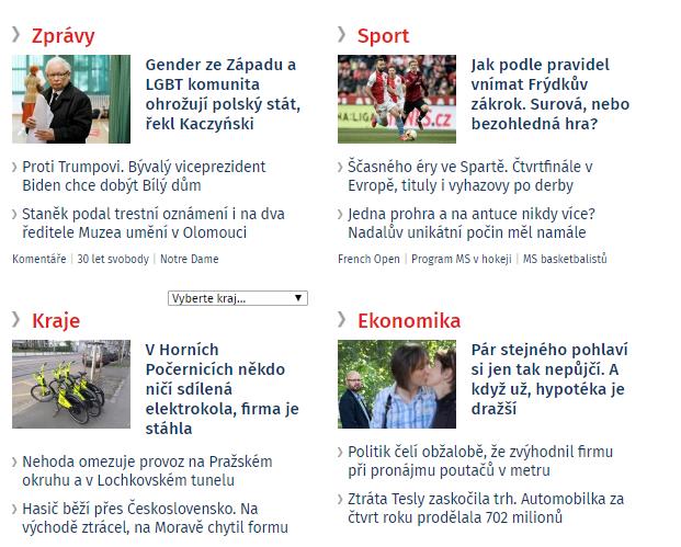 Ukázka stávajícího členění rubrik na iDnes.cz