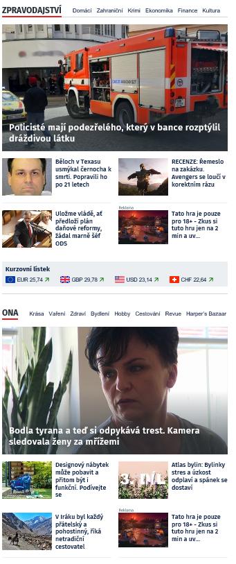 Ukázka nové úpravy rubrik na iDnes.cz