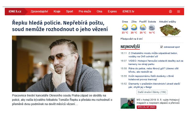 Horní část hlavní stránky iDnes.cz v upravené podobě