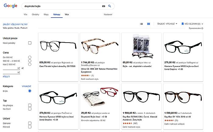 Ukázka vyhledávání v rozhraní Google/Shopping