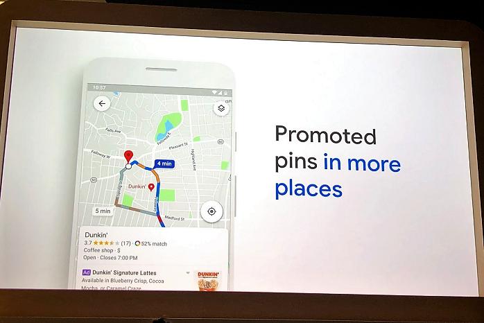 Ukázka nového reklamního produktu v rámci Google Maps – Promoted Pins: Google Marketing Live 2019