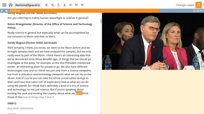 Ukázka zpracování video obsahu do textu, zdroj: Newton Technologies