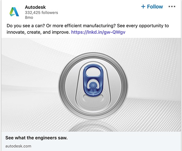 Ukázková propagace Autodesk, zdroj: LinkedIn