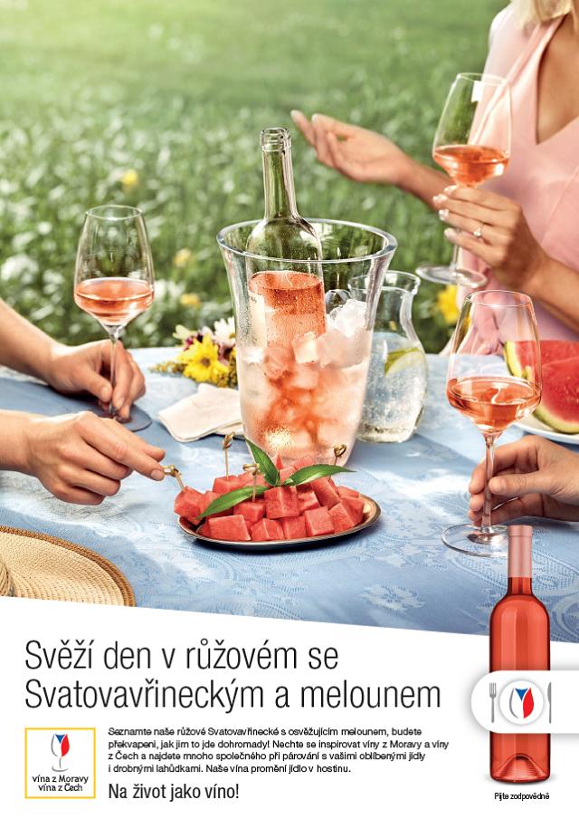Klíčový vizuál k letní kampani Vinařského fondu na podporu růžových vín, zdroj: Momentum