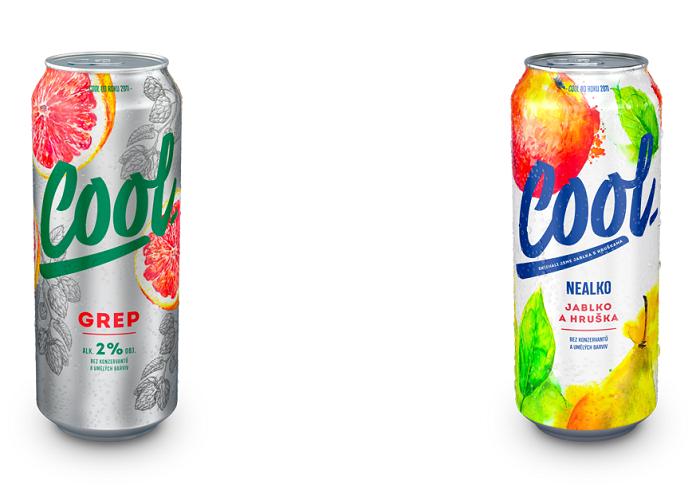 Nový design značky Cool, alkoholické varianty využívají zelenou barvu, nealkoholické modrou, zdroj: Pivovary Staropramen.
