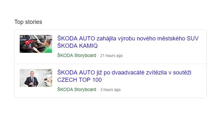 Rozšíření výsledků hledání Google o zpravodajské články pomocí strukturovaných dat, zdroj: www.skoda-storyboard.cz.