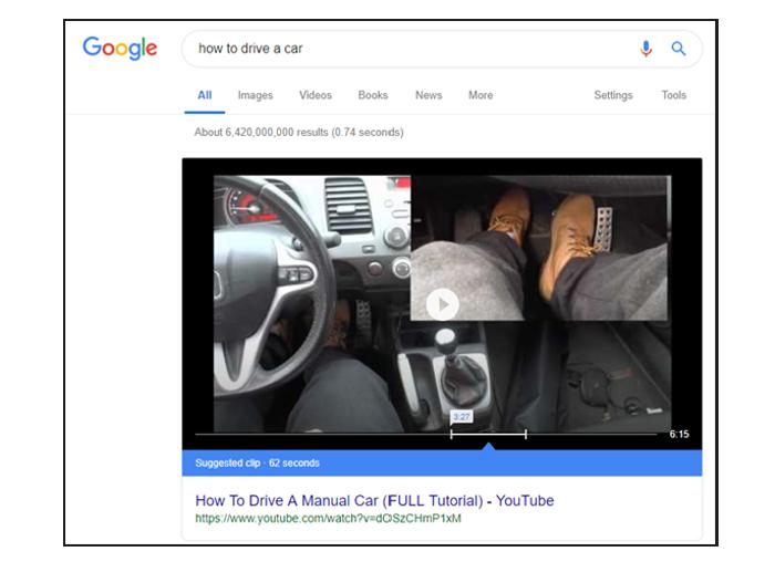 Na dotaz ve vyhledávání může odpovědět i video, zdroj: Google.