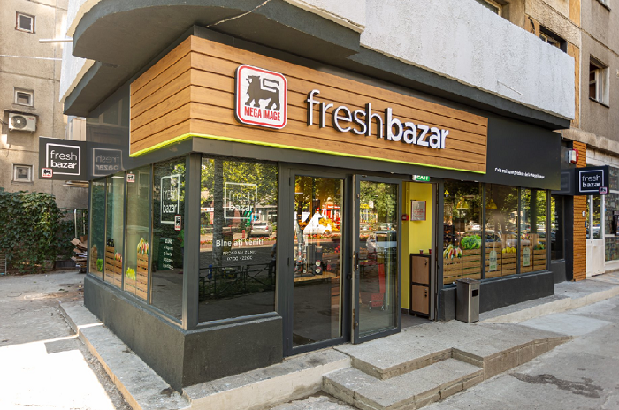 """První prodejna v novém """"fresh"""" konceptu byla otevřena v Bukurešti. Zdroj: FB Mega Image"""