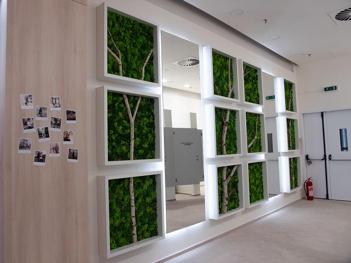 Interiér pracuje s korporátními barvami, dřevem a mechem, foto: ZOOT.