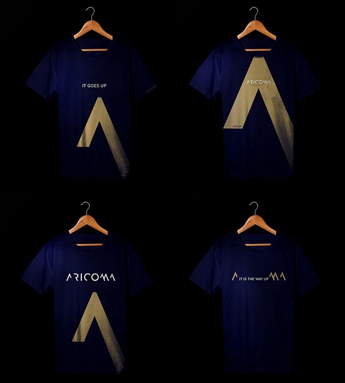 Aplikace vizuální identity značky Aricoma na trička, zdroj: Aetna
