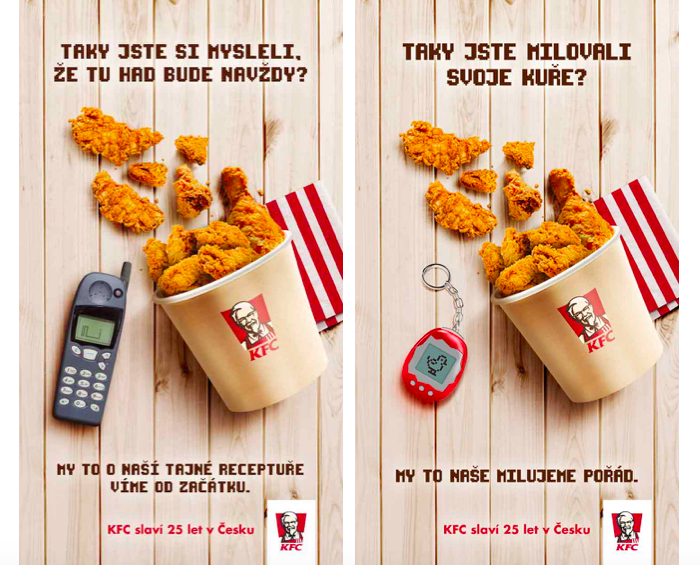 Klíčové vizuály ke kampani u příležitosti 25 let KFC na českém trhu, zdroj: KFC