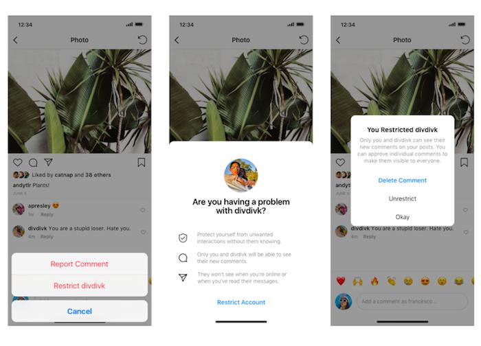 S novou funkcí Restrict mohou majitelé účtu nepříjemného followera přesunout do šedé zóny, zdroj: Instagram.