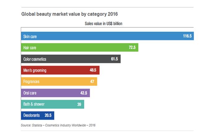Podíl jednotlivých subkategorií na celkovém obratu kosmetického trhu, zdroj: Statista