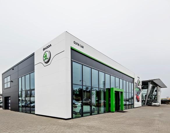 Nový otevřený showroom Škoda v Hradci Králové.