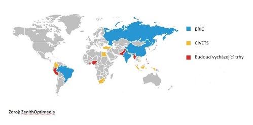Základní skupiny trhů pro budoucí vývoj, zdroj: ZenithOptimedia