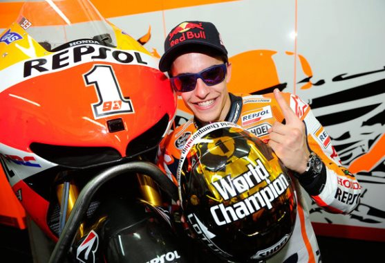 Marc Marquez (ESP/ Honda) poses for a portrait with the Moto GP World Championship helmet after winning the Moto Grand Prix 2013 at the Circuit de la Comunitat Valenciana in Valencia, Spain on November 10th, 2013 // Gold & Goose/Red Bull Content Pool // P-20131110-00333 // Usage for editorial use only // Please go to www.redbullcontentpool.com for further information. //