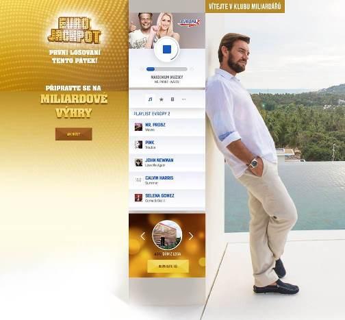 Eurojackpot - příklad brandingu na stránkách rádia Evropa 2