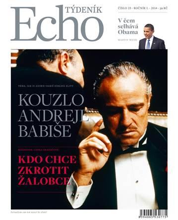 Návrh titulní strany nového tištěného týdeníku Echo.  Varianta s šedým logem.