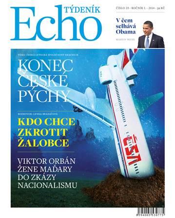 Návrh titulní strany nového tištěného týdeníku Echo. varianta s modrým logem.