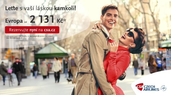 Vizuál valentýnské kampaně Českých aerolinií