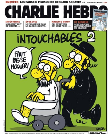 """Charlie Hebdo z roku 2012 - Nedotknutelní 2: """"Neposmívat se!"""""""