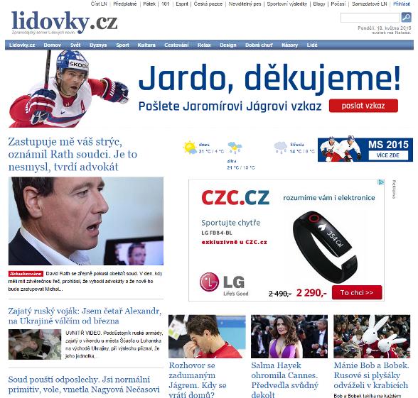 Starý design webu Lidovky.cz