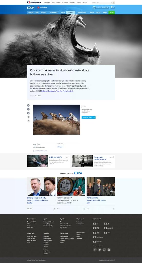 Nová podoba webu ČT24, foto: ČT