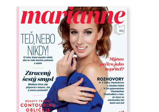 Nový vzhled titulní strany Marianne, září 2015
