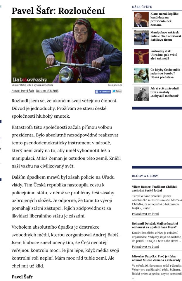 Článek podepsaný Pavlem Šafrem na Svobodném fóru. Z webu byl krátce po publikaci stažen.