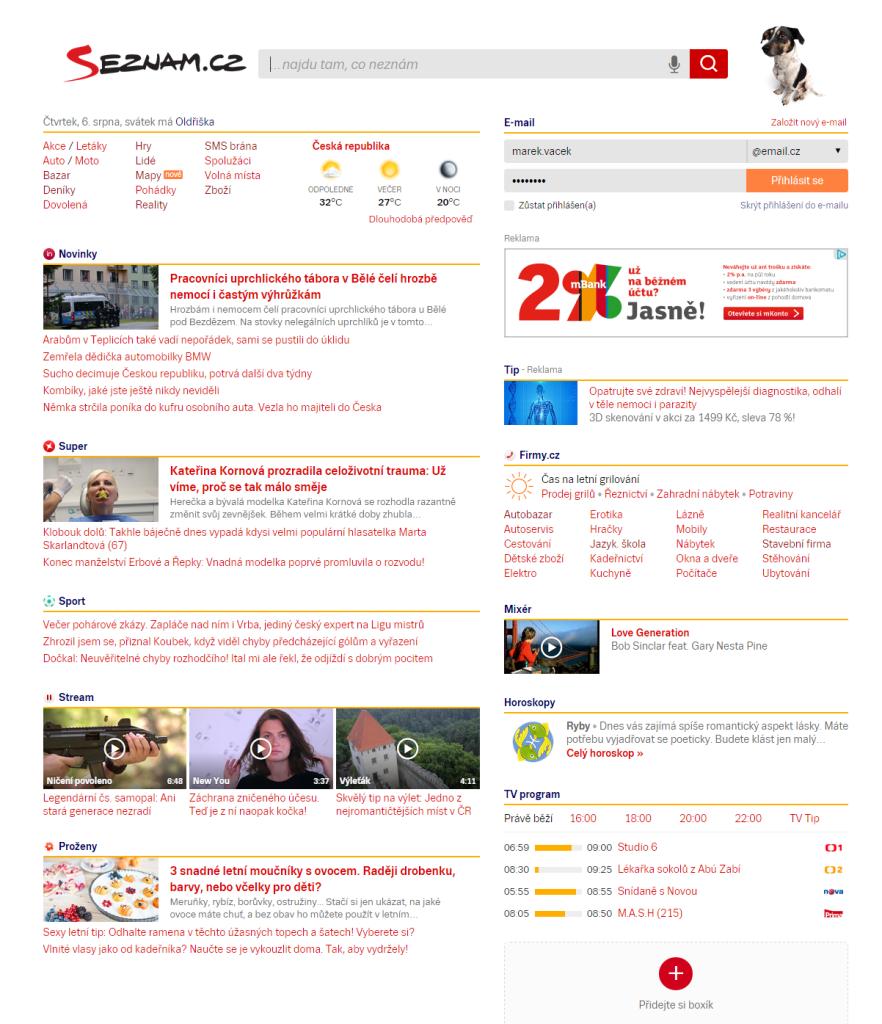 Podoba nové HP Seznam.cz, kliknutím zvětšíte