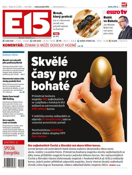 Nová podoba deníku E15 od 5. října 2015.