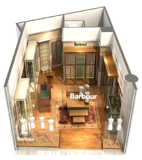 Koncept prodejny značky Barbour