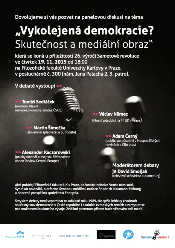 Pozvanka na panelovou diskusi Vykolejena demokracie - 19.11. 18 hod