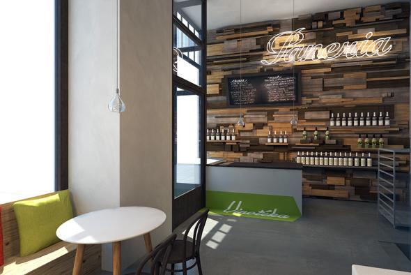 Nová prodejna má dřevěnou vinnou stěnu.
