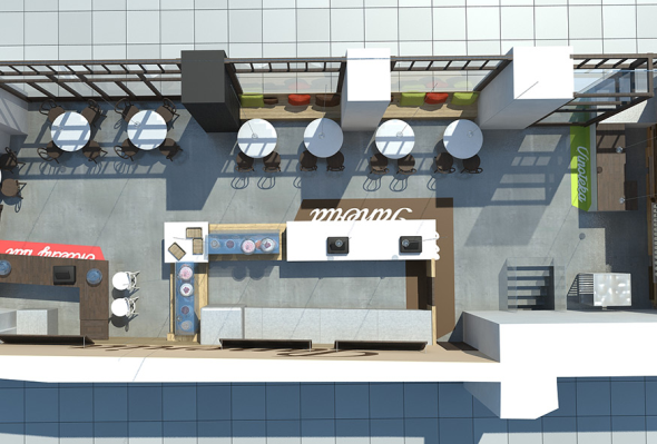 Redesignované prodejny jsou rozděleny do tří zón: hlavní prodejní deska, mléčný bar a vinný kout