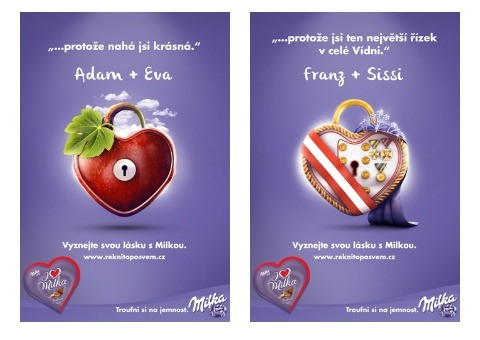 Klíčové vizuály valentýnské kampaně značky Milka